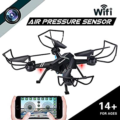 Drone with Camera for Adults, JoyGeek FPV RC Quadcopter Aircraft Wifi Live Video Altitude Hover 3D VR 2.4GHz 6Axis Gyro Headless Mode APP Remote Control for iPhone & Android