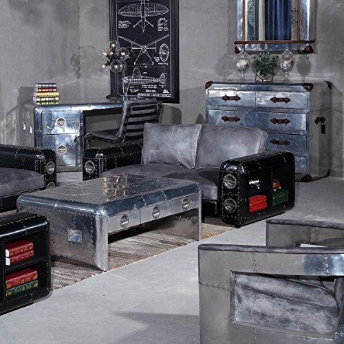 Sofa Nibe 2-Sitzer in Leder Silber und Schwarzblech - 2