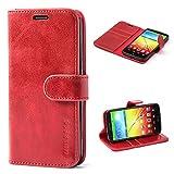 Mulbess Ledertasche im Ständer Book Case / Kartenfach für LG G2 Tasche Hülle Leder Etui,Wine Rot