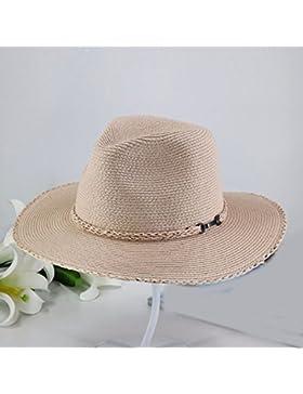 LVLIDAN Sombrero para el sol del verano Lady Anti-Sol Playa sombrero de paja plegable rosa de estilo británico