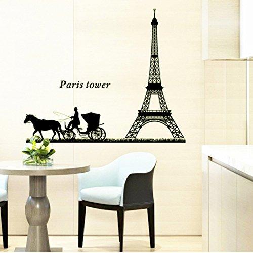 Torre Eiffel di Parigi notte nighting parete in pvc adesivo rimovibile in salone camera da letto Cucina Art Picture Murals Sticks finestra porta decorazione + 3d rana regalo adesivo per auto