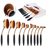 Elephant Xu®Hot Rose Golden Beauty New Elite Oval Tooth Design Makeup Brush Set For Applying Cosmetic Products Amazing Set (10Pcs Rose Golden)