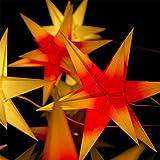 1 Papierstern beleuchtet, rot mit gelben Spitzen, 3d Weihnachtsstern fürs Fenster - Bockelwitzer Stern (Art.Nr.204) inkl. Netzteil mit 3-fach-Verteiler, Fenster-Clip, Durchmesser 19 cm, Papier, komplett handgefertigt, für den Innenbereich