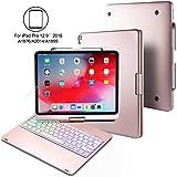 BECEMURU Funda con Teclado para iPad Pro 12.9 360°Funda Protectora de Folio con Aleación de Aluminio de 7 Colores y con retroiluminación Bluetooth para el Modelo 2018 iPad Pro 12.9 (Oro Rosa)