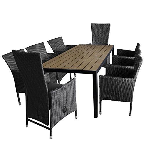 9tlg. Gartengarnitur Aluminium Gartentisch, Polywood-Tischplatte, 205x90cm + 6x Rattansessel, stapelbar + 2x Gartensessel stufenlos verstellbare Rückenlehne Polyrattan inkl. Sitzkissen / Sitzgarnitur Sitzgruppe Terrassenmöbel Set