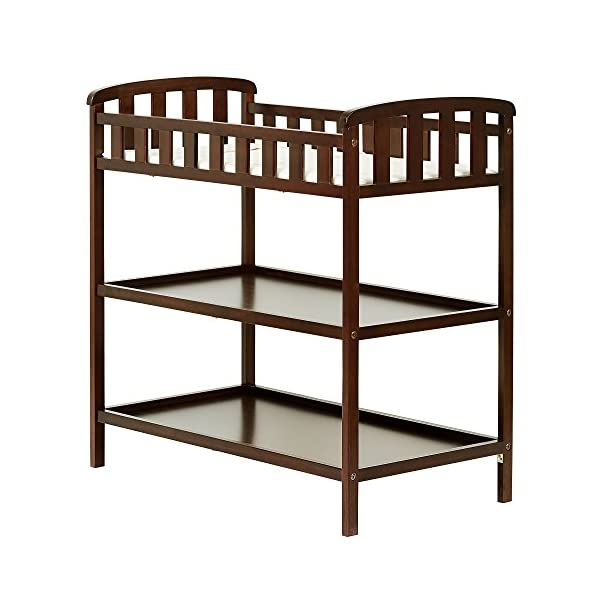 "Dream On Me Emily Changing Table, Espresso Dream On Me 1 inch changing pad 5 1/2"""" safety rail.Dimensions  36.5L x 20W x 39H inches 2 shelves below; Weight:19.5lbs 1"