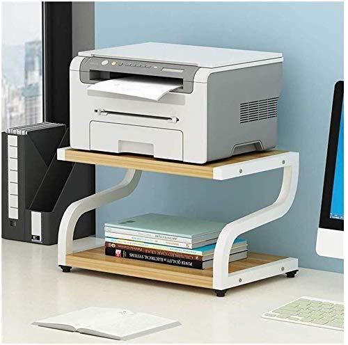 Desktop-Ständer for Drucker, Druckerständer, Desktop-Regal mit Anti, Skid-Pads for Raum Organizer als Lagerregal, Bücherregal, Doppel Tier-Behälter for Mikrowellenherd Topfpflanzen (Farbe: weiß)
