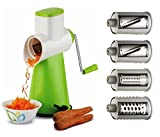 #7: Vegetable Rotary Grater - Vegetable Cutter - Spiral Vegetable Slicer - Cheese Cutter Slicer - Chocolates Grinder - Dry-Fruits Grinder for Desserts - Pasta Salad Maker - Chips Cutter - Shredder Grinder - 4 Interchanging Ultra Sharp Stainless Steel Blades - 100% Virgin Plastic - Poly-Carbonate Unbreakable Body - EFFORTLESS AND SAFE - MULTIPLE FUNCTIONS IN ONE TOOL - EASY TO USE - WITH VACUUM SUCTION FOR BETTER GRIP - PROUDLY MAKE IN INDIA