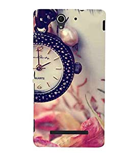 Watch, Black, Rose, Lovely Pattern, Printed Designer Back Case Cover for Sony Xperia C3 Dual :: Sony Xperia C3 Dual D2502
