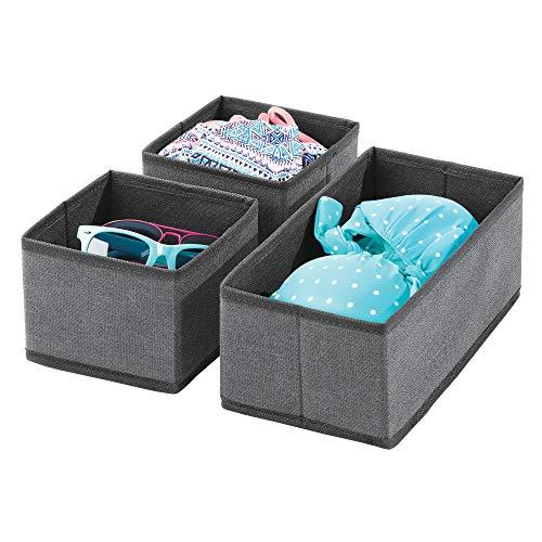 mDesign 3er-Set Aufbewahrungsbox – atmungsaktive Stoffbox für Socken, Unterwäsche, Leggings etc. – vielseitige Schubladen Organizer für Schlaf- und Kinderzimmer – schiefergrau/schwarz