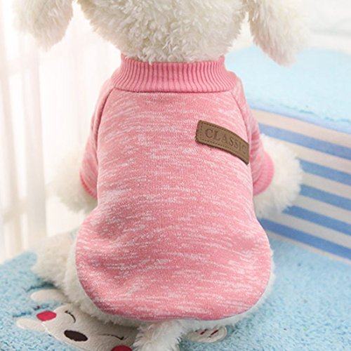 Idepet Haustier Katze Hund Pullover, warme Hund Pullover Cat Kleidung, Fleece Haustier Mantel für Welpen Small Medium Large Dog, Pink & grau (M, Rosa)