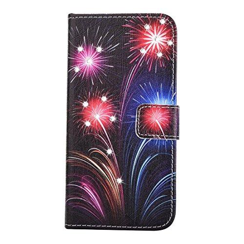 Hülle für iPhone 7 plus , Schutzhülle Für iPhone 7 Plus Fireworks Pattern Diamond verkrustet Horizontale Flip Leder Tasche mit magnetischen Wölbung Halter & Card Slots & Wallet ,hülle für iPhone 7 plu IP7P2271A