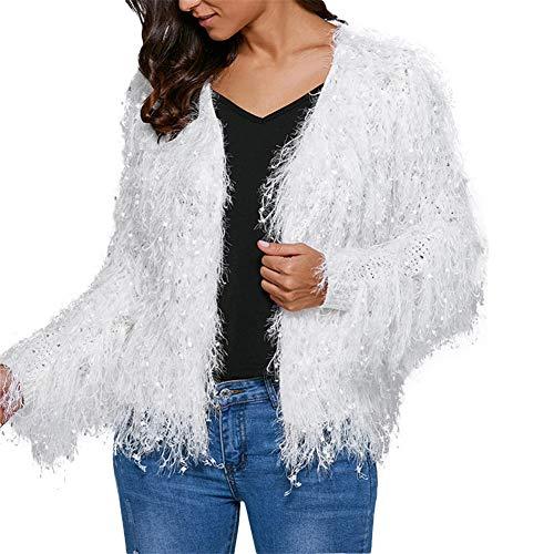 SoonerQuicker Women Fashion V-Neck Quasten Pailletten Cardigan Langarm-Mantel Pullover Pailletten Fransen Jacke Kurze Strickjacke Pullover (M, Weiß) -