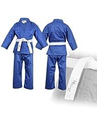 Azul Niños Karate Traje Libre Blanco Cinturón Niños Karate Suit - 150 cm