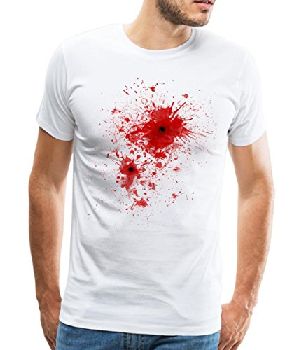 Spreadshirt Blut Einschussloch Blood Splatter Männer Premium T-Shirt, S, Weiß (Splatter-premium-t-shirt)