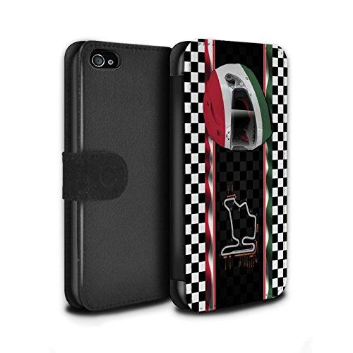 Stuff4 Coque/Etui/Housse Cuir PU Case/Cover pour Apple iPhone 4/4S / Singapour Design / F1 Piste Drapeau Collection Hongrie/Budapest