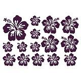 plot4u Wandtattoo Hibiskus Creativ-Set in 5 Größen und 19 Farben (75x50cm Aubergine)