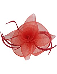 Pluma Sombrero de Fascinator de Boda Velo Horquilde Pelo Rojo Headpiece