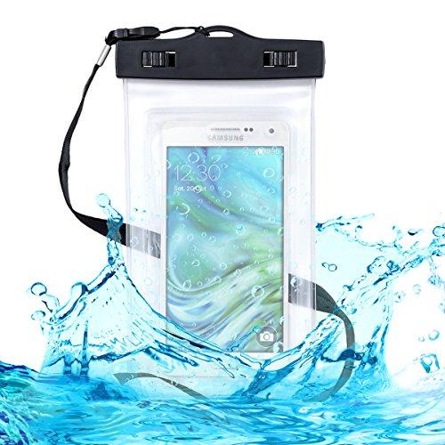 kwmobile, Custodia impermeabile da spiaggia per Smartphone, Nero trasparente