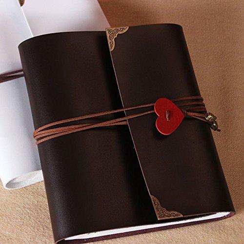 Skye Reker Cuoio 30 fogli di carta nera cuore di amore di nozze fai da te a tema dell'album Handmade Vintage Photo Album foto Scrapbooking 8 10 12 pollici (bianco-175 x 190