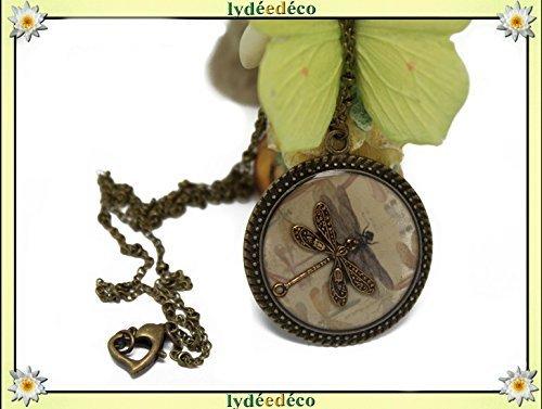 Halskette Retro Libellule beige grau Sepia Retro Harz Messing Bronze Medaillon 25mm personalisiertes Geschenk Noel Freund Muttertag Geburtstag Hochzeit Gast Valentinstag danke Herrin
