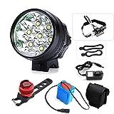TANSUO Eclairage Velo,9000 Lumens 7X CREE XM-L T6 LED 3 Modes Bicyclette de Vélo Lampe Extérieure Devant la Lumière Eclairage Vélo Puissant+Feu arrière