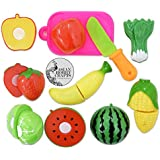 AsianHobbyCrafts Realistic Sliceable 7 Pcs Fruits Cutting Play Toy Set, Can Be Cut In 2 Parts, Assorted