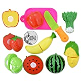 #6: AsianHobbyCrafts Realistic Sliceable 7 Pcs Fruits Cutting Play Toy Set, Can Be Cut in 2 Parts, Assorted