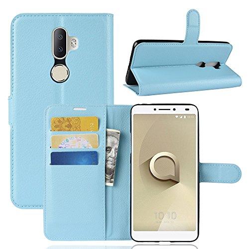 Handyhülle für Alcatel 3 V 95street Schutzhülle Book Case für Alcatel 3 V, Hülle Klapphülle Tasche im Retro Wallet Design mit Praktischer Aufstellfunktion - Etui Blau