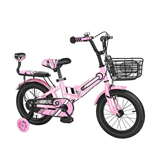 FINLR-Kinderfahrräder Mädchen Jungen Kinderfahrrad Kinderfahrrad Faltrad 12 14 16 18 20 Zoll for 2-12 Jahre Mit Stabilisatoren Und Korb (Color : Pink, Size : 18 inches)