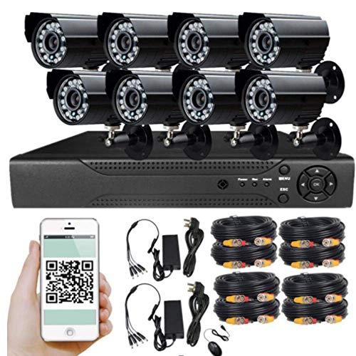 Z-DYQ Kabelloses CCTV-Kamerasystem 8CH 720P / 1080P HD NVR mit 8 2.0MP wetterfester Überwachungskamera für den Außenbereich, Bewegungserkennung, Fernzugriff, Home Security Camera Kits,720P Home Security-kamera-kit