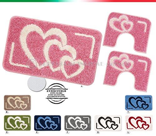Tappeti bagno shaggy parure set 3 pezzi cuori moderni morbidissimi retro antiscivolo mod.lipsi (rosa (r))
