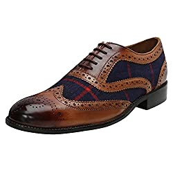 BRUNE Burnished Tan 100% Genuine Leather Combination with Navy Blue Check Denim Full Brogue Aka Wingtip Shoes for Men Size-11