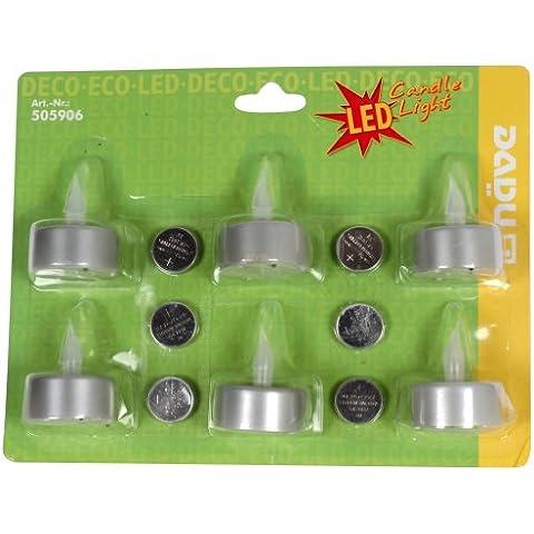 Näve Leuchten 505906 - Lamparitas LED (4 cm de diámetro, 5 cm de altura), en forma de velas de té, color plateado