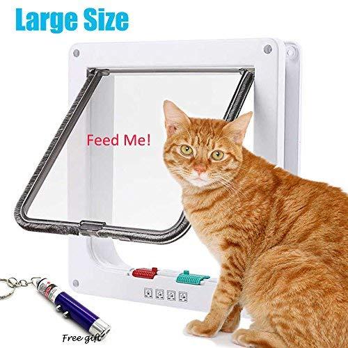 RESTER Schutzleiter [Verbesserte Version] Anti-Cracking 4Möglichkeiten Sperren magnetisch Smart Cat Tür, Klappe Tür für Innen und Außen (groß, Weiß) -