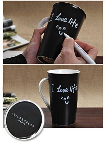 Iris&Boreas [Taza Pizarra Personalizable] con [Rotulador Tiza Blanco] para Escribir Mensajes, Palabras o Dibujar hasta el Infinito [Mug personalizada]