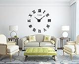 Modern Mute DIY Large 3D Black Wall Clock Wall Stickers Kitchen Home Wall Decor (black roman numerals) - GUFAN - amazon.co.uk