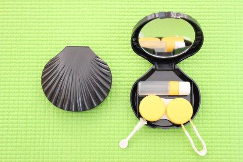 Kontaktlinsenbehälter Spiegel (Kontaktlinsenbehälter Aufbewahrungsbehälter Etui Set Spiegel Schneckengehäuse Schwarz NEU)