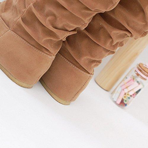 Vertvie Femme Fille Bottes Minces Mi-mollet Dentelle Automne Vintage Chaussures Flats Brun