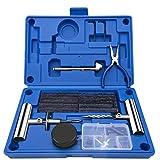EletecPro Juego de reparación de neumáticos 47 Piezas, multifunción, Herramienta de reparación para Moto, Coche, Bicicleta, ATV, Jeep, Turismo, con Caja de Almacenamiento Azul