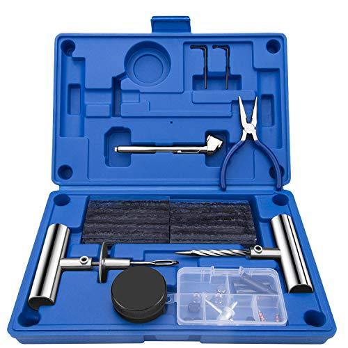 EletecPro Reifen Reparaturset 47 TLG Autoreifen Flickzeug Multifunktion Reparatur Werkzeug für Motorrad, Auto, Fahrrad,ATV, Jeep, PKW mit Aufbewahrungsbox Blau