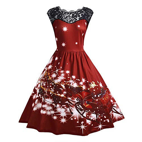 AMUSTER Frauen Weihnachten Drucken Ärmellos Rundhals Party Panel Kleid 2018 Summer 50s Retro Vintage Rockabilly Kleid Partykleider Cocktailkleider