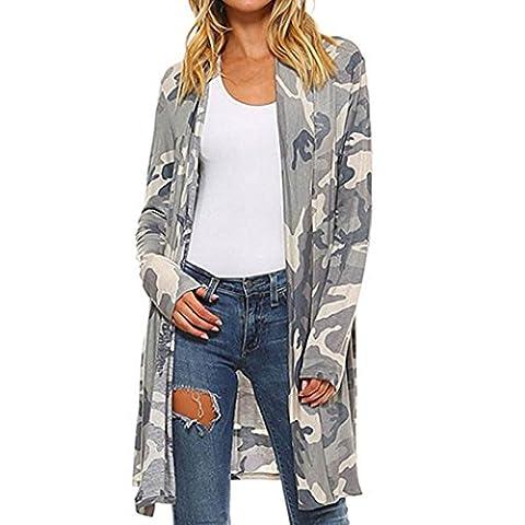 Damen Cardigan Strickjacke, Longra Casual Damen Camouflage Langarmshirt Strickjacke Kimono Cardigan Cover Up Bluse Wasserfall Strickmantel (M, Gray)