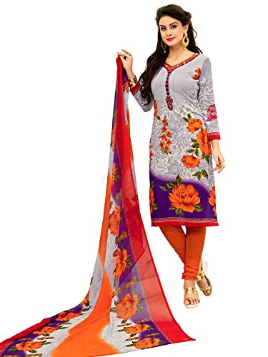 FabFactory Orange & Purple Printed Synthetic Unstitched Salwar Suit Dress Material for...