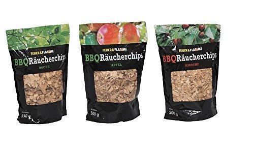 BBQ Räucherchips Mix: Buche, Kirsche und Apfel - fruchtiges Raucharoma für alle Fisch- und Fleischsorten - ideal für den Einsatz im Smoker & Grill - Wood-Chips für die Räucherbox - Räucherspäne