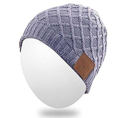 Qshell Winter Washable Bluetooth Music Beanie Warm Soft Knitted Trendy Short Striped Hat Cap w/ Wireless Headphone Headset Earphone Mic Hands Free for Excrise Gym Sports Fitness Running Skiing -