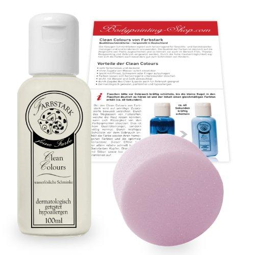 Farbstark Bodypainting Farben - hautfreundliche Körperfarbe in Profi Qualität (auch für Airbrush geeignet), Set: 100 ml Farbe Weiß + Schminkschwamm