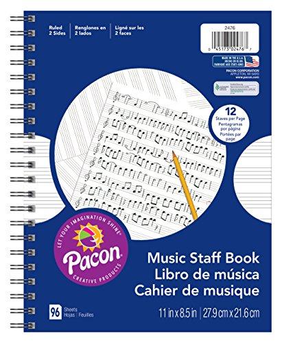 Pacon Musik Staff Papier, mehrfarbig, 81/5,1x 27,9cm Spirale