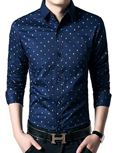 Icegrey Herren Hemd Blumiges Punkt Beiläufiges Langarm Freizeit Slim Fit Aus Baumwolle mit Kentkragen Navy Blau 46 (Uniform Button Down Oxford)