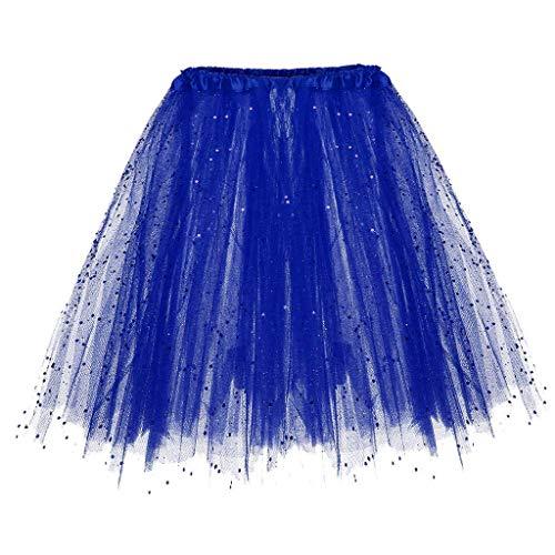 Andouy Damen Tutu Rock Tüll Sparkly Pailletten Balletttanz Organza 50s Jahre Kostüm Mini Dress-up Größe 36-44(36-44.Blau1)